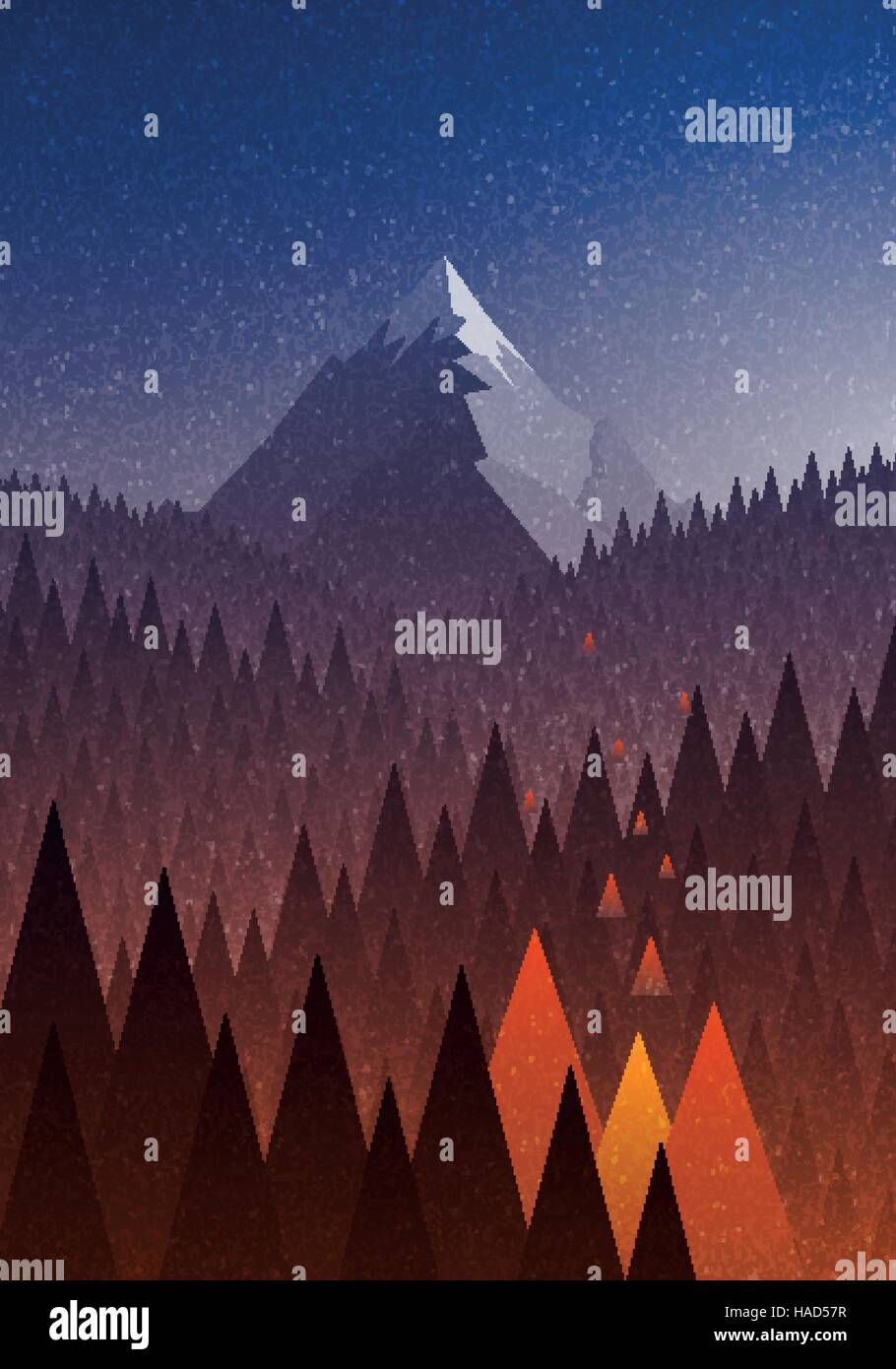 Abstract Nature Landscape Mountain And Forest Fire