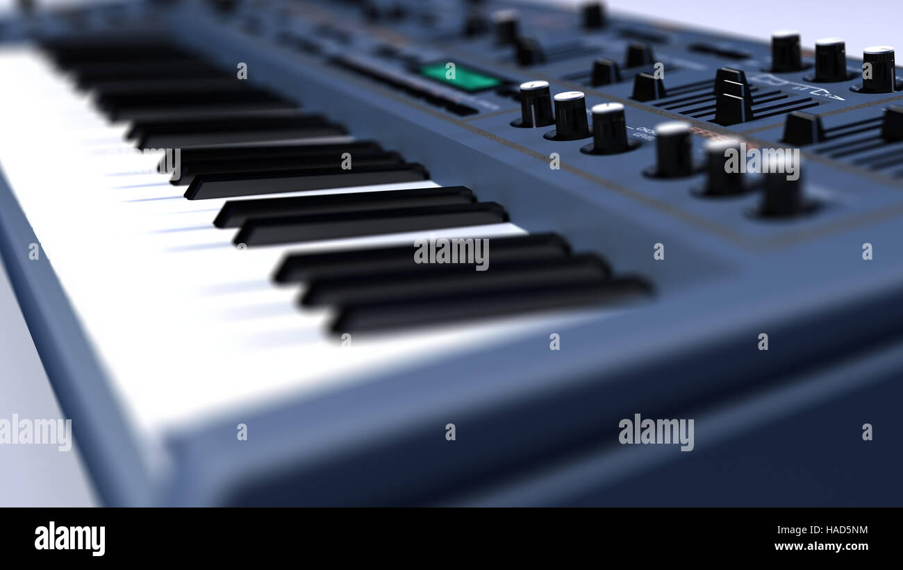 This is an image of a Synthesizer / Keyboard. The picture was taken in close-up. - Stock Image
