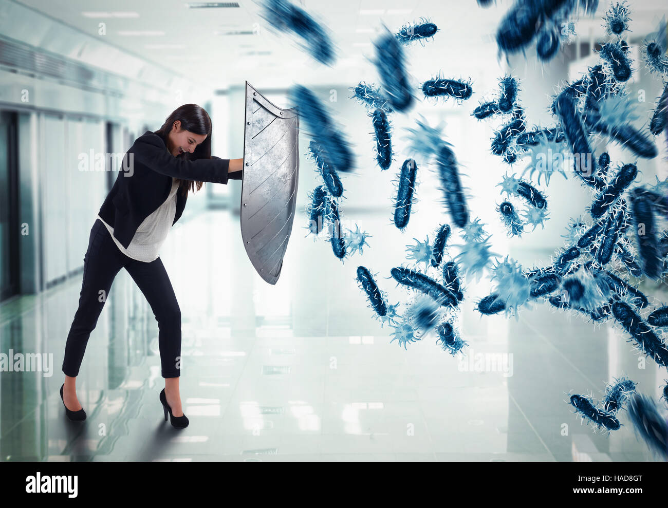 3D Rendering attack of bacteria Stock Photo