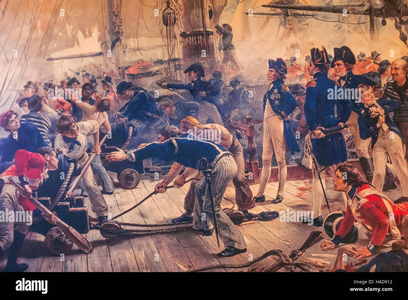 England, Hampshire, Portsmouth, Portsmouth Historic Dockyard, The National Museum, Royal Navy, Painting depicting - Stock Image