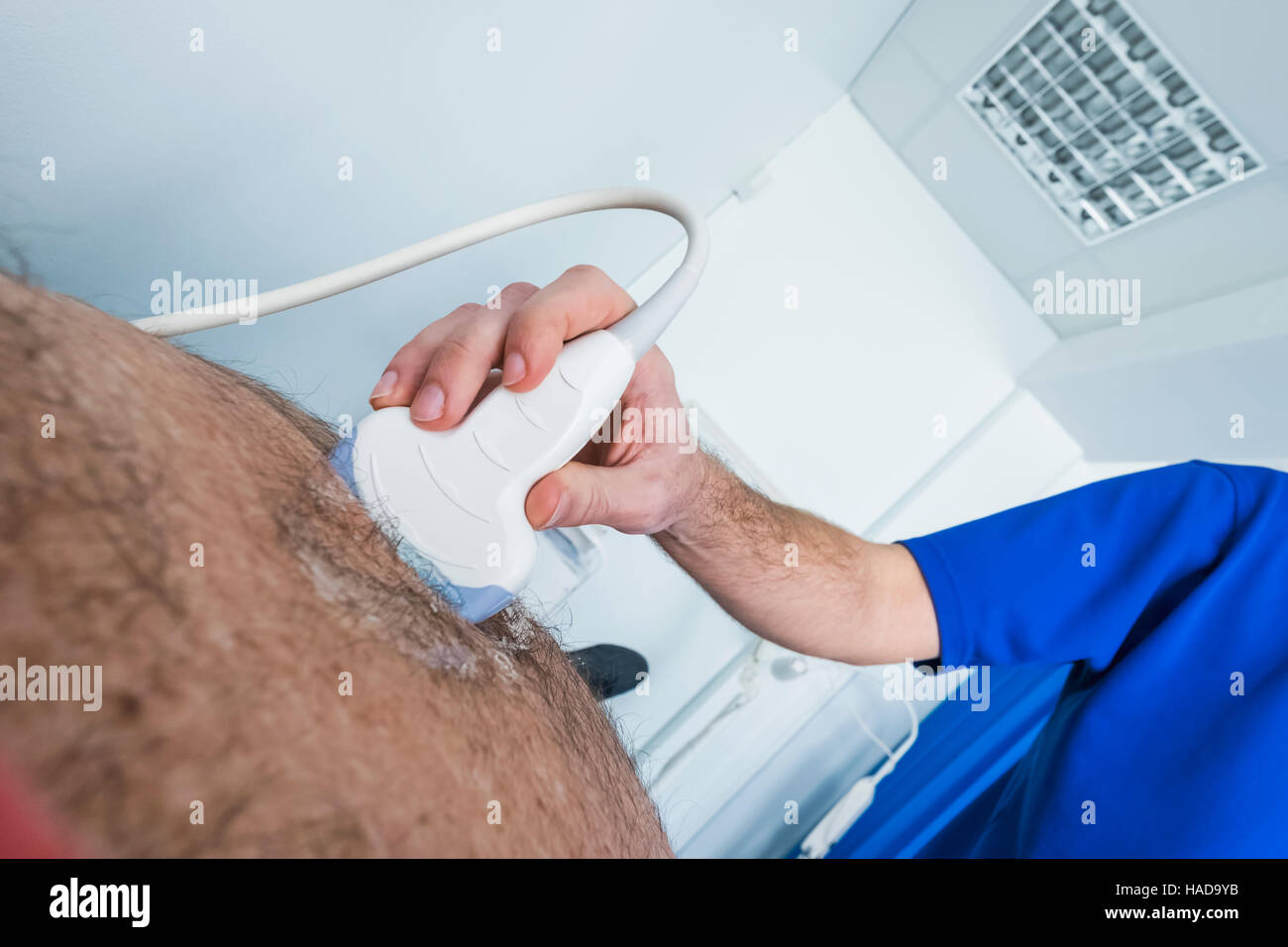 England, London, Guy's Hospital, Ultrasound for Abdominal Aortic Aneruysm Screening - Stock Image