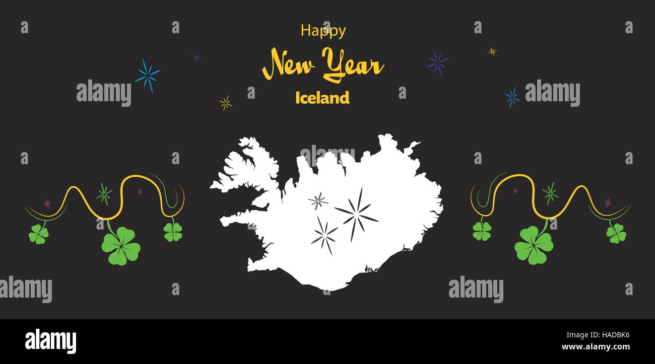 happy new year illustration theme with map of iceland