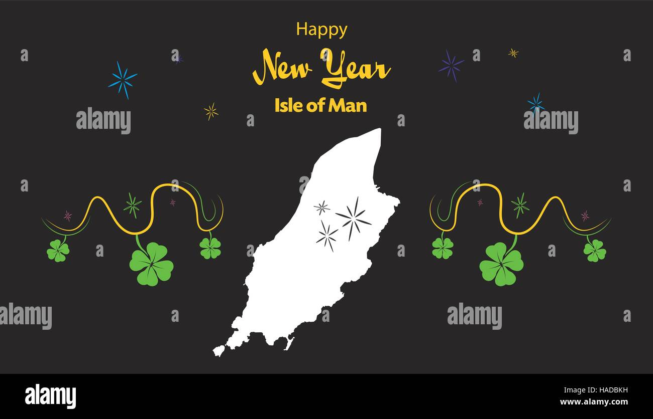 happy new year illustration theme with map of isle of man