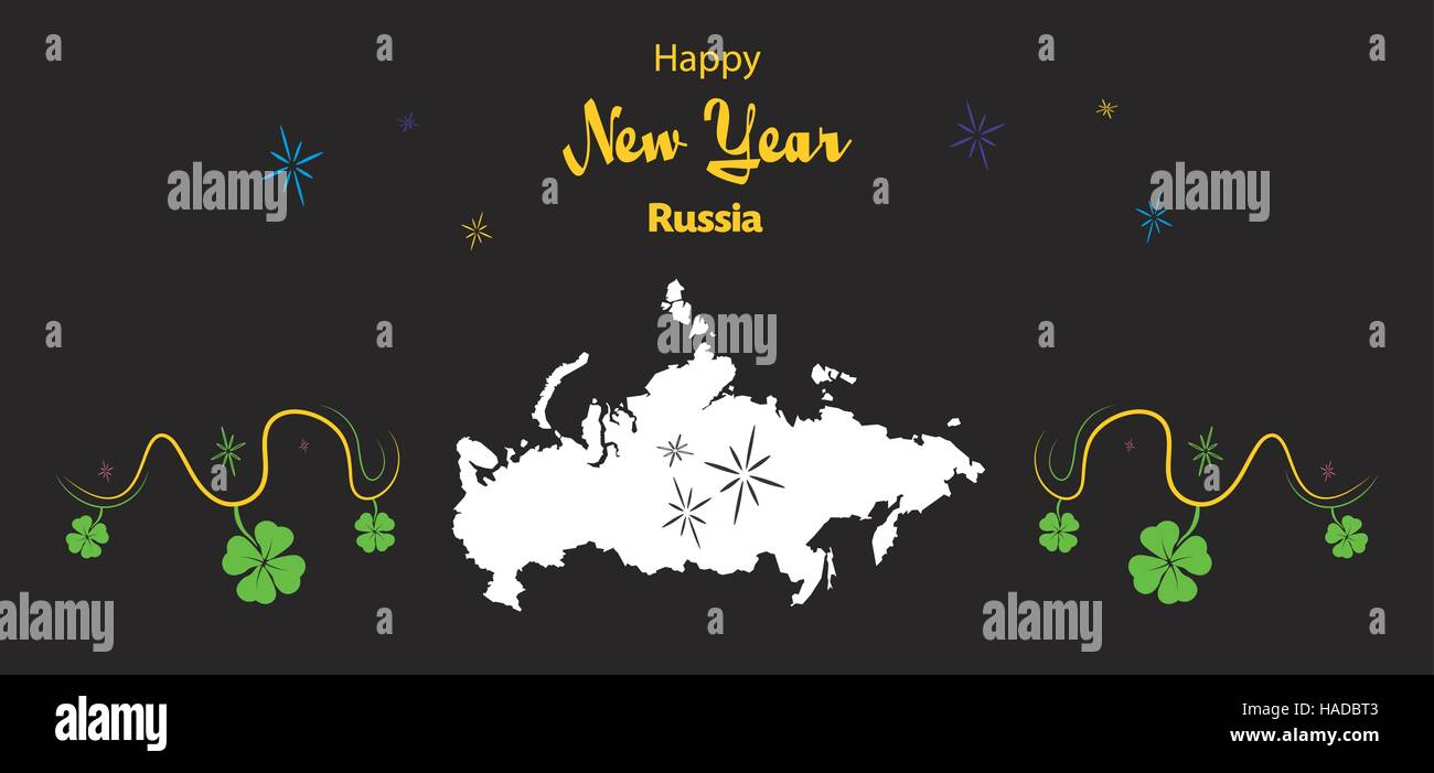 happy new year illustration theme with map of russia