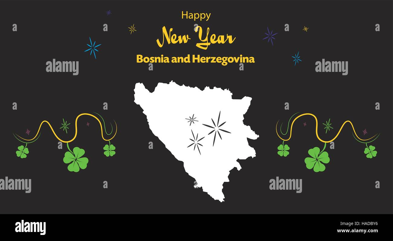 Happy New Year illustration theme with map of Bosnia and Herzegovina - Stock Vector