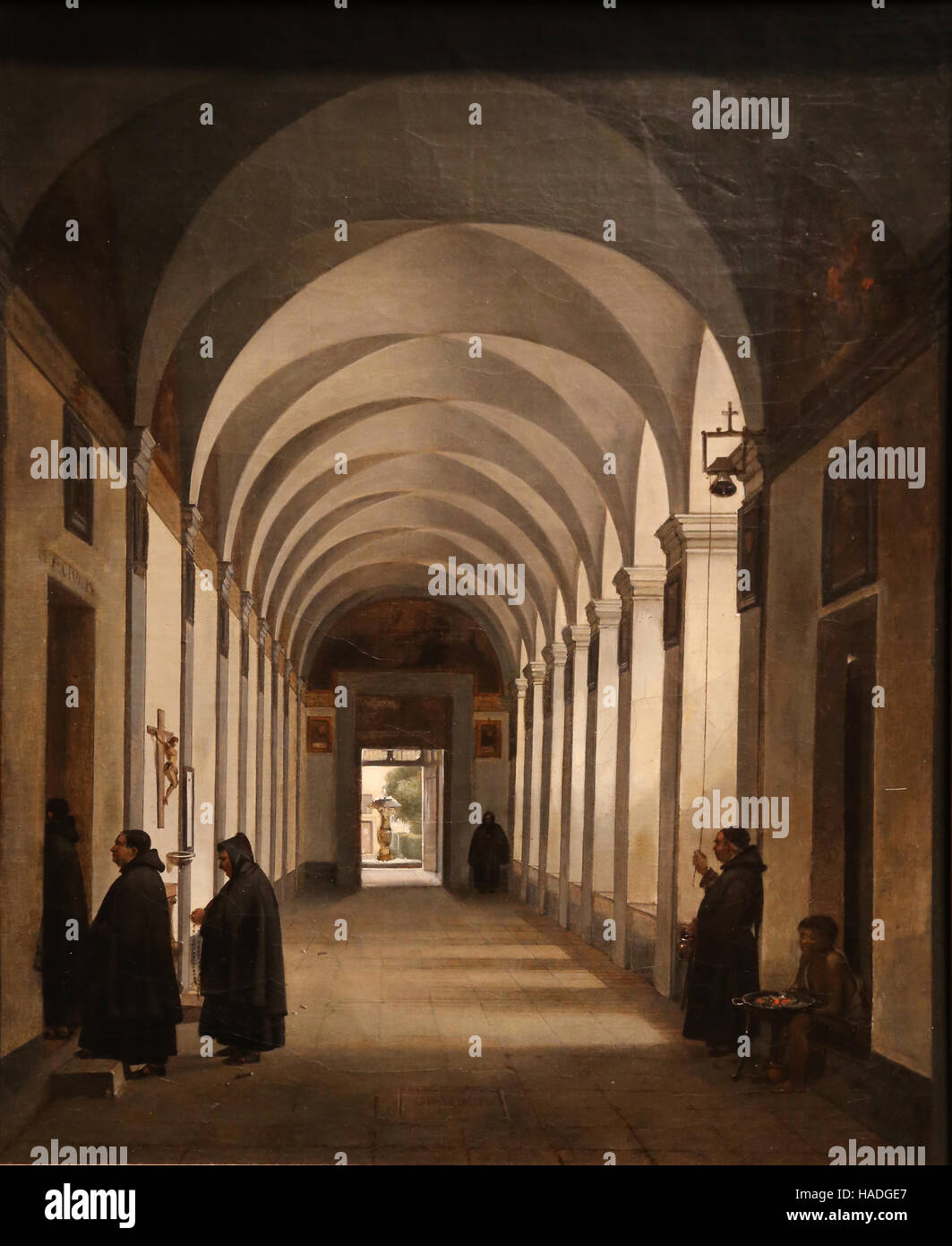 Monks in the cloister of the Church of Gesu e Maria, Rome, 1808. Oil on canvas. By Francois Marius Granet (1775 - Stock Image