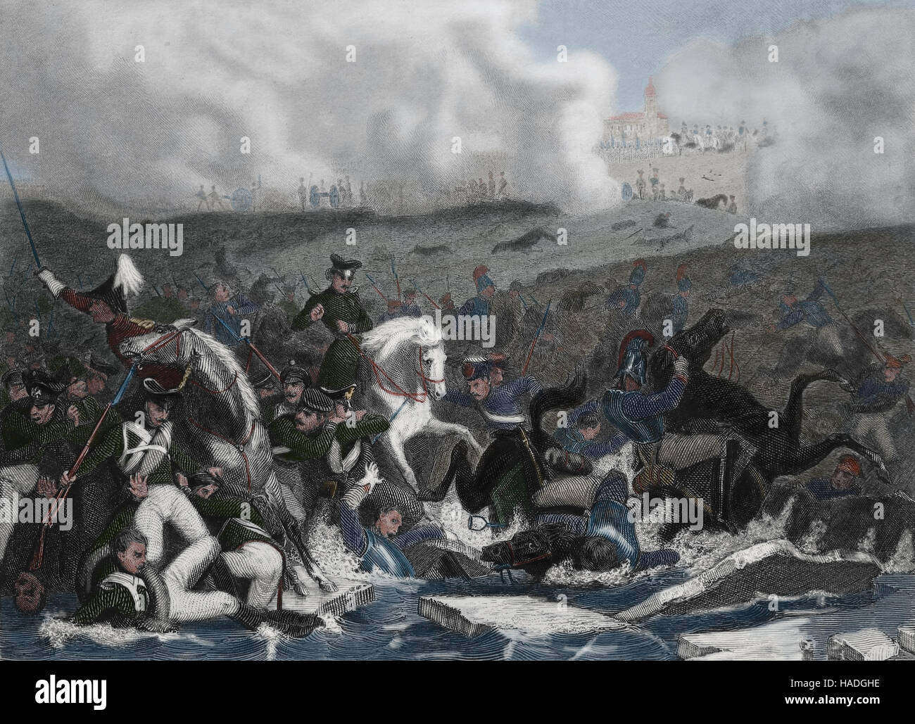 Battle of Austerlitz or Battle of 3 Emperors. 2 Decembre 1805. Napoleonic Wars. Engraving. 19th century. Later colouration. - Stock Image