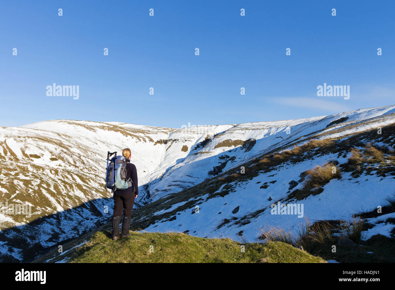 Walker Looking at Full Depth Avalanches in the North Pennines at the Head of Ardale Beck on Green Fell, Eden Valley, - Stock Image