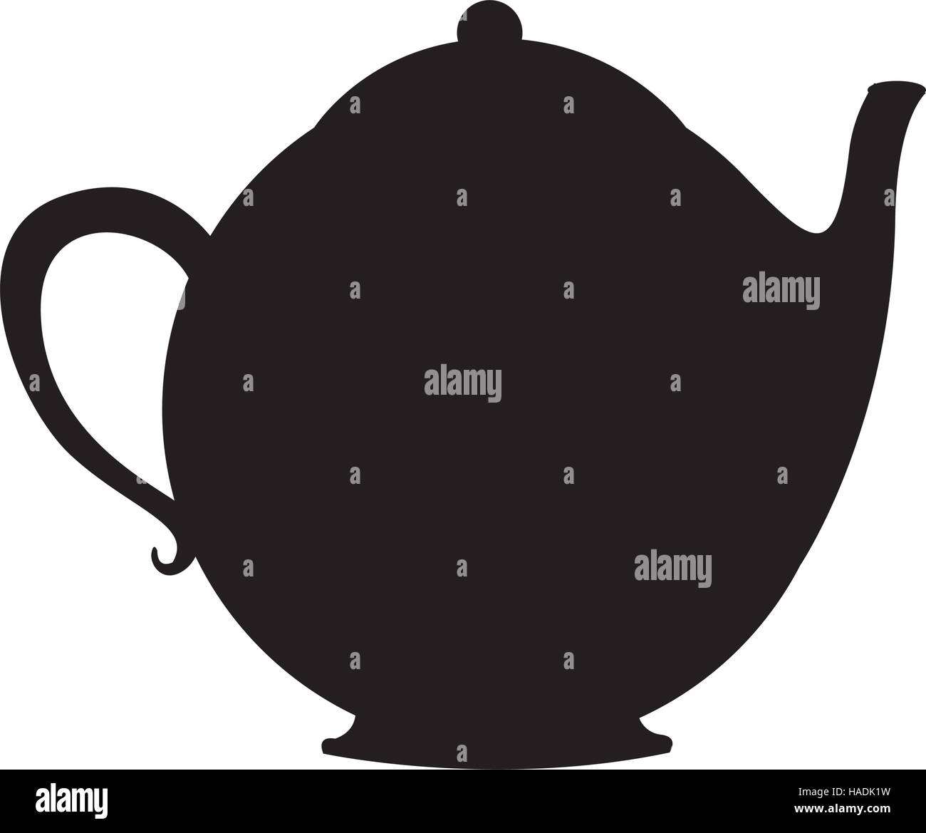 monochrome silhouette with tea kettle vector illustration - Stock Vector