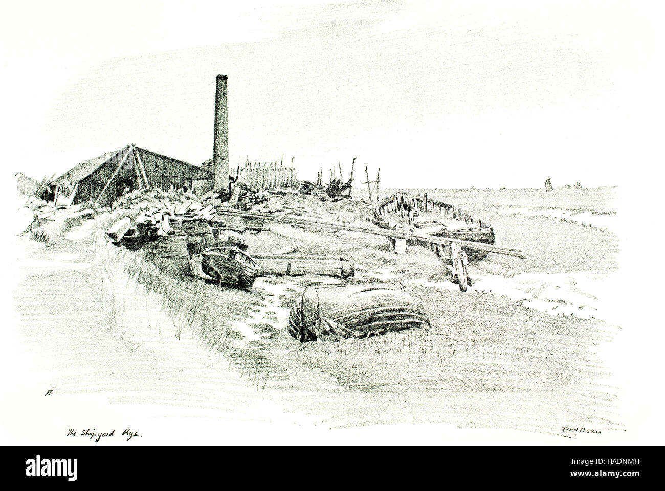 The Shipyard, Rye, Kent, halftone illustration of pencil drawing by P Noel. Boxer from 1913 Studio Magazine - Stock Image