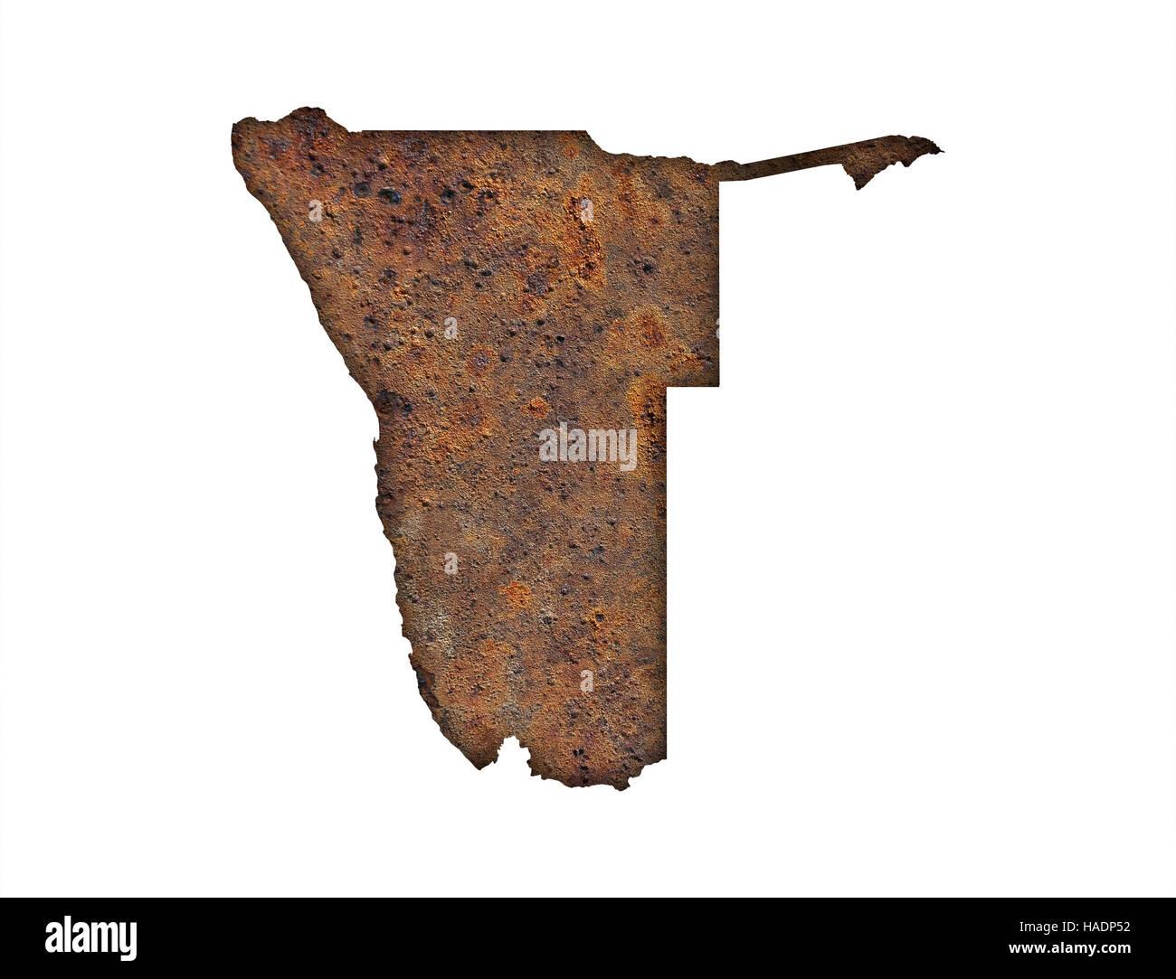 Map of Namibia on rusty metal - Stock Image