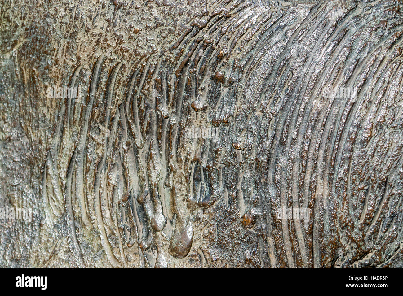 full frame abstract bronze surface detail - Stock Image