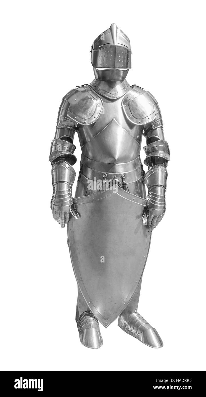 historic full body metallic plate armour in white back - Stock Image