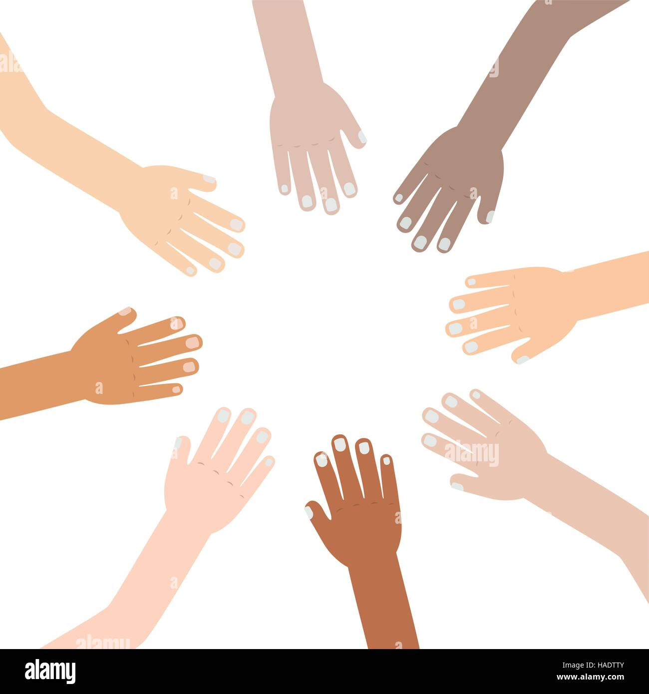hand raised of different races united vector illustration - Stock Image