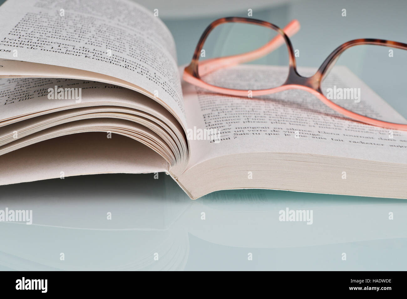 Open book and eye glasses - Stock Image
