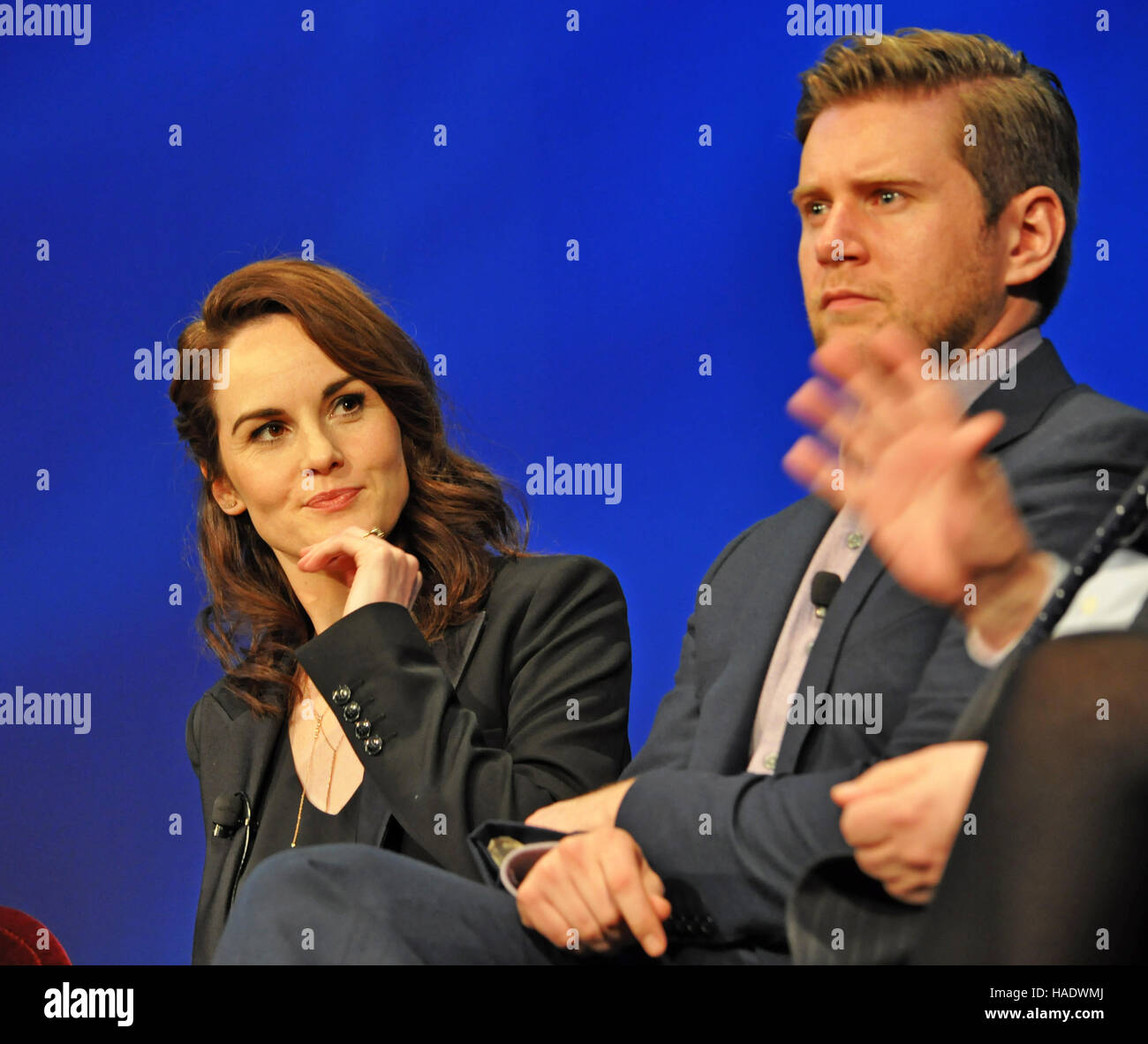 NY, NY. December 8 2015.  Michelle Dockery and Allen Leech at the 'Downtown Abbey' PBS panel. © Veronica - Stock Image