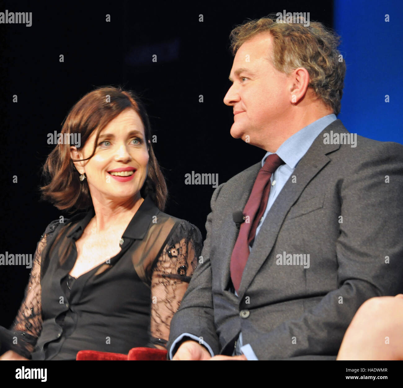 NY, NY. December 8 2015.  Elizabeth McGovern and Hugh Bonneville at the'Downtown Abbey' PBS panel. © - Stock Image