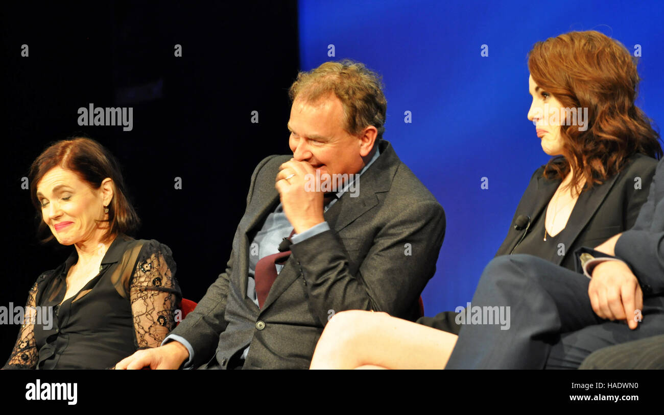 NY, NY. Dec. 8 2015.  Elizabeth McGovern, Hugh Bonneville, & Michelle Dockery 'Downtown Abbey' PBS panel. - Stock Image