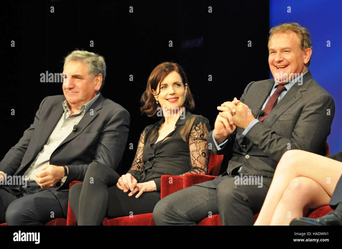 NY, NY. December 8 2015.  Jim Carter, Elizabeth McGovern, & Hugh Bonneville. 'Downtown Abbey' PBS panel. - Stock Image