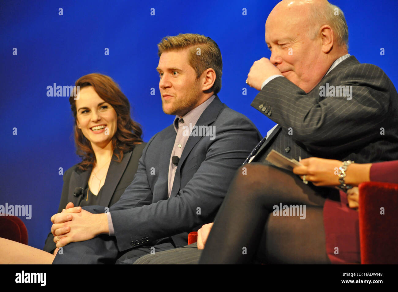 NY, NY. December 8 2015.  Michelle Dockery, Allen Leech, & Julian Fellowes.  'Downtown Abbey' PBS panel. - Stock Image