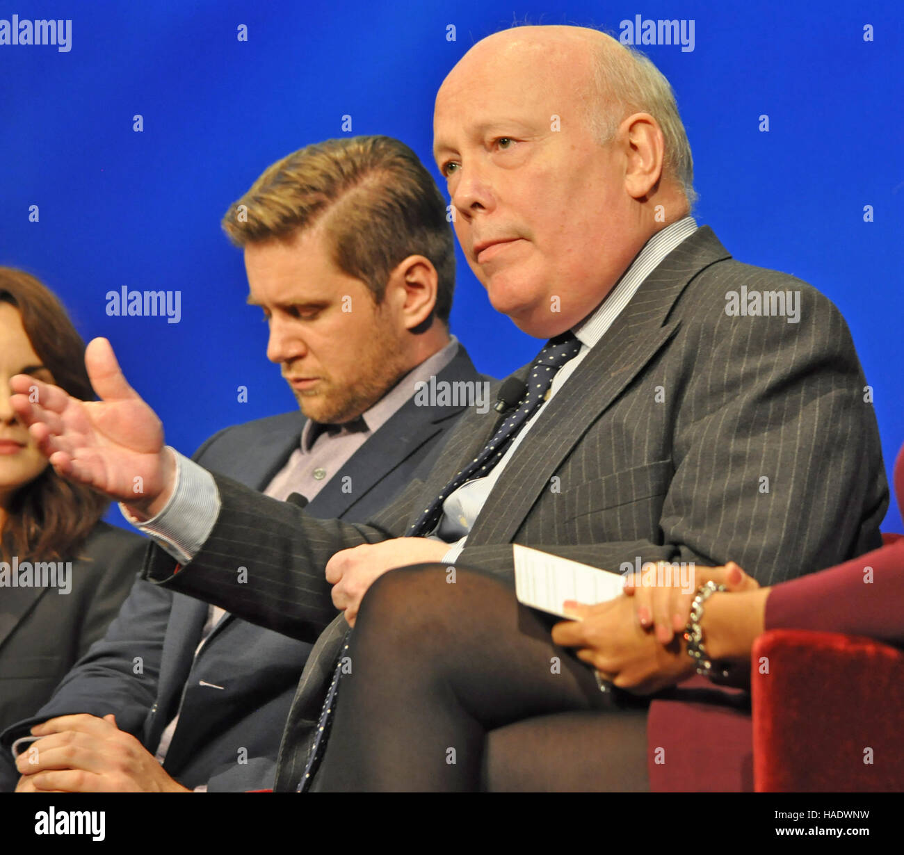 NY, NY. December 8 2015.  Allen Leech and Julian Fellowes at the 'Downtown Abbey' PBS panel. © Veronica - Stock Image