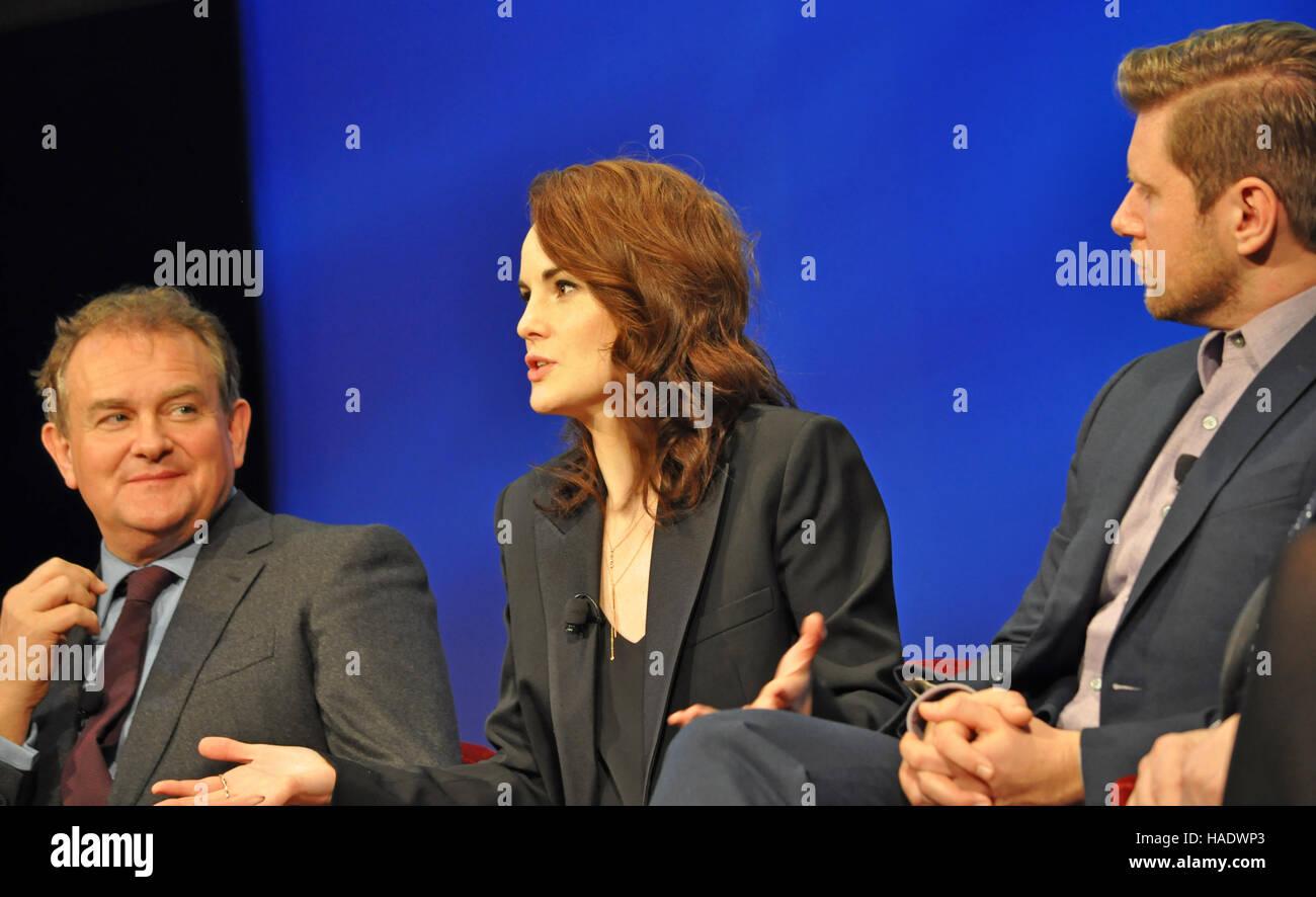 NY, NY. December 8 2015.  Hugh Bonneville, Michelle Dockery, & Allen Leech,  'Downtown Abbey' PBS panel. - Stock Image