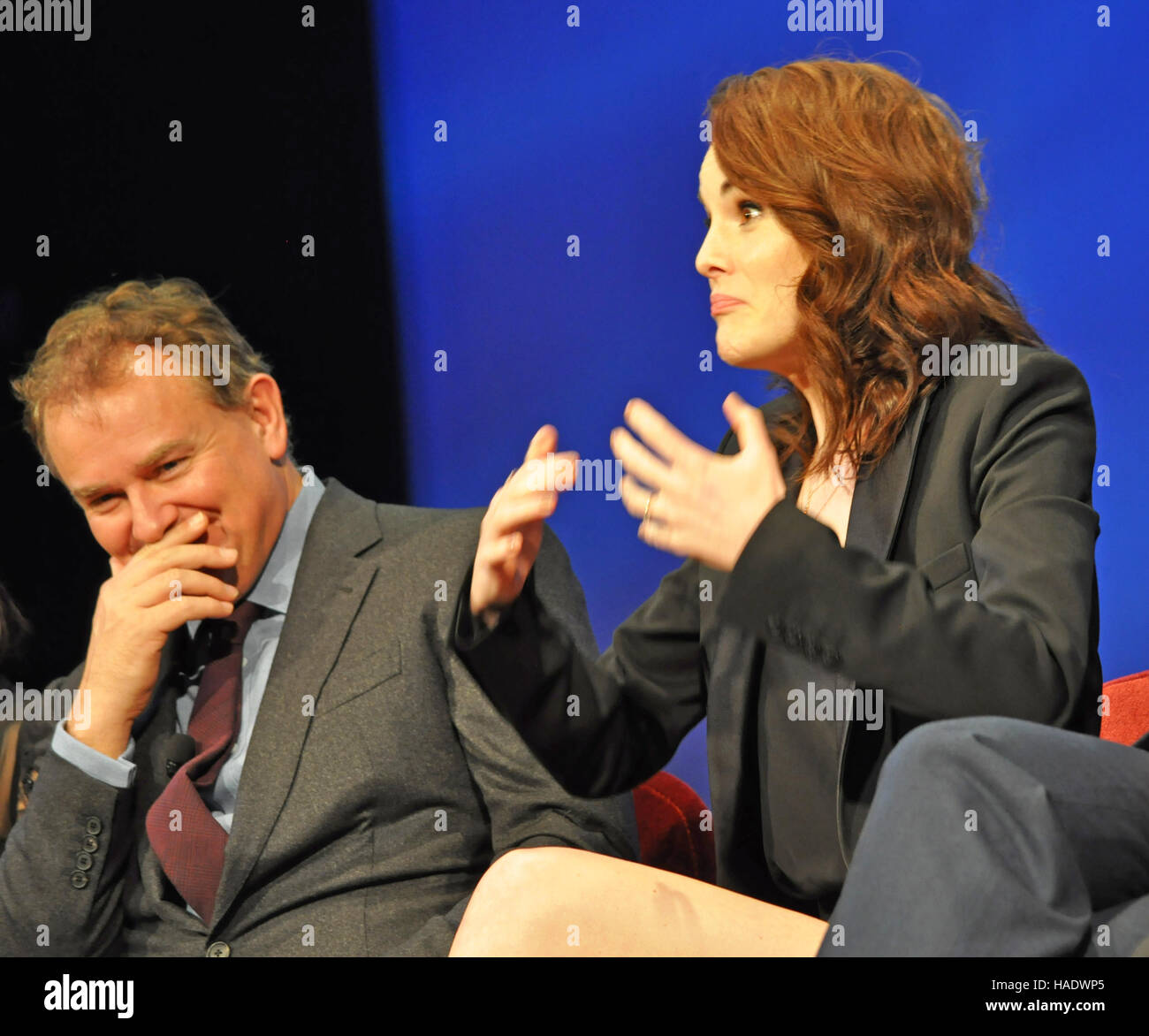 NY, NY. December 8 2015.  Hugh Bonneville and Michelle Dockery at the 'Downtown Abbey' PBS panel. © - Stock Image
