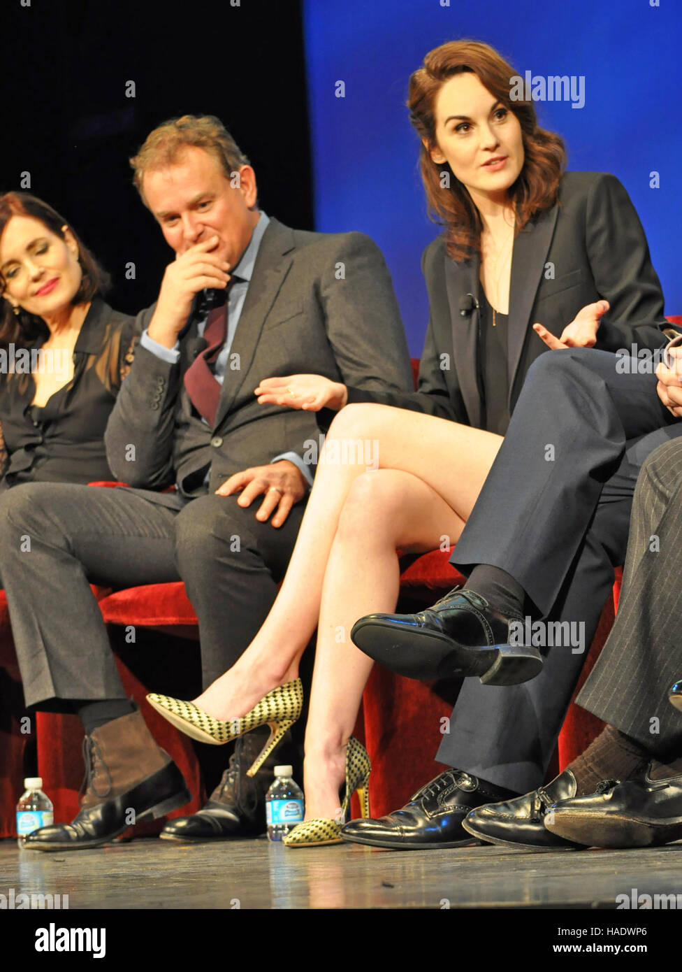 NY, NY. December 8 2015.  Elizabeth McGovern, Hugh Bonneville, & Michelle Dockery.'Downtown Abbey' panel. - Stock Image