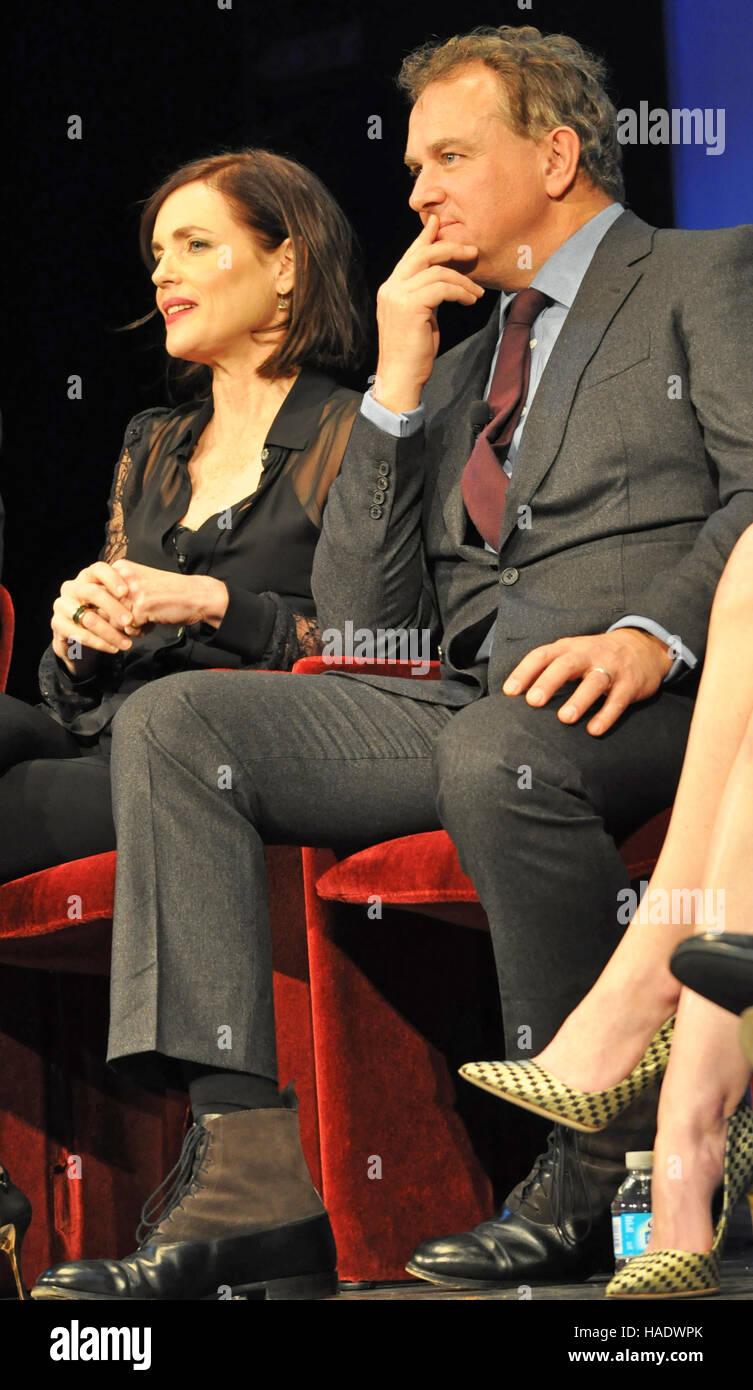 NY, NY. December 8 2015.  Elizabeth McGovern and Hugh Bonneville at the 'Downtown Abbey' PBS panel. © - Stock Image