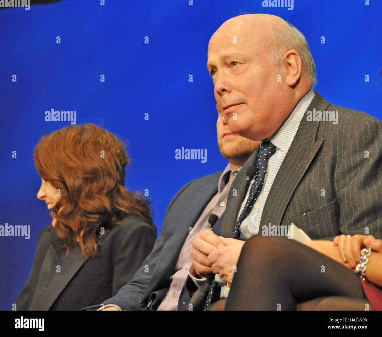 NY, NY. December 8 2015.  Michelle Dockery, Allen Leech, Julian Fellowes at  'Downtown Abbey' PBS panel. - Stock Image