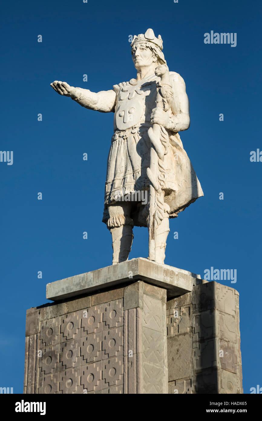 Statue of Capac Colla, Amantani Island, Lake Titicaca, Puno, Peru - Stock Image