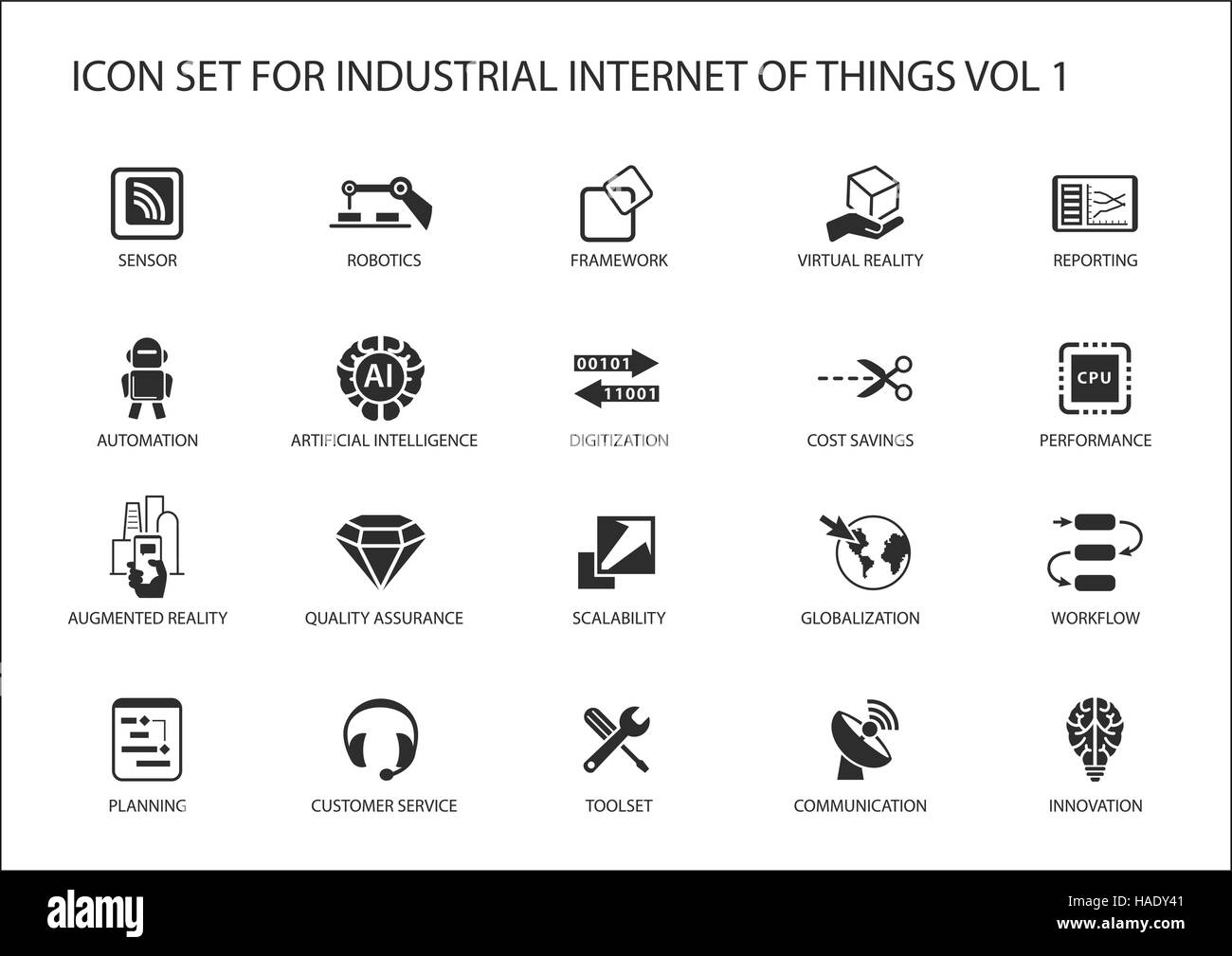 Industrial internet of things vector icon set - Stock Image