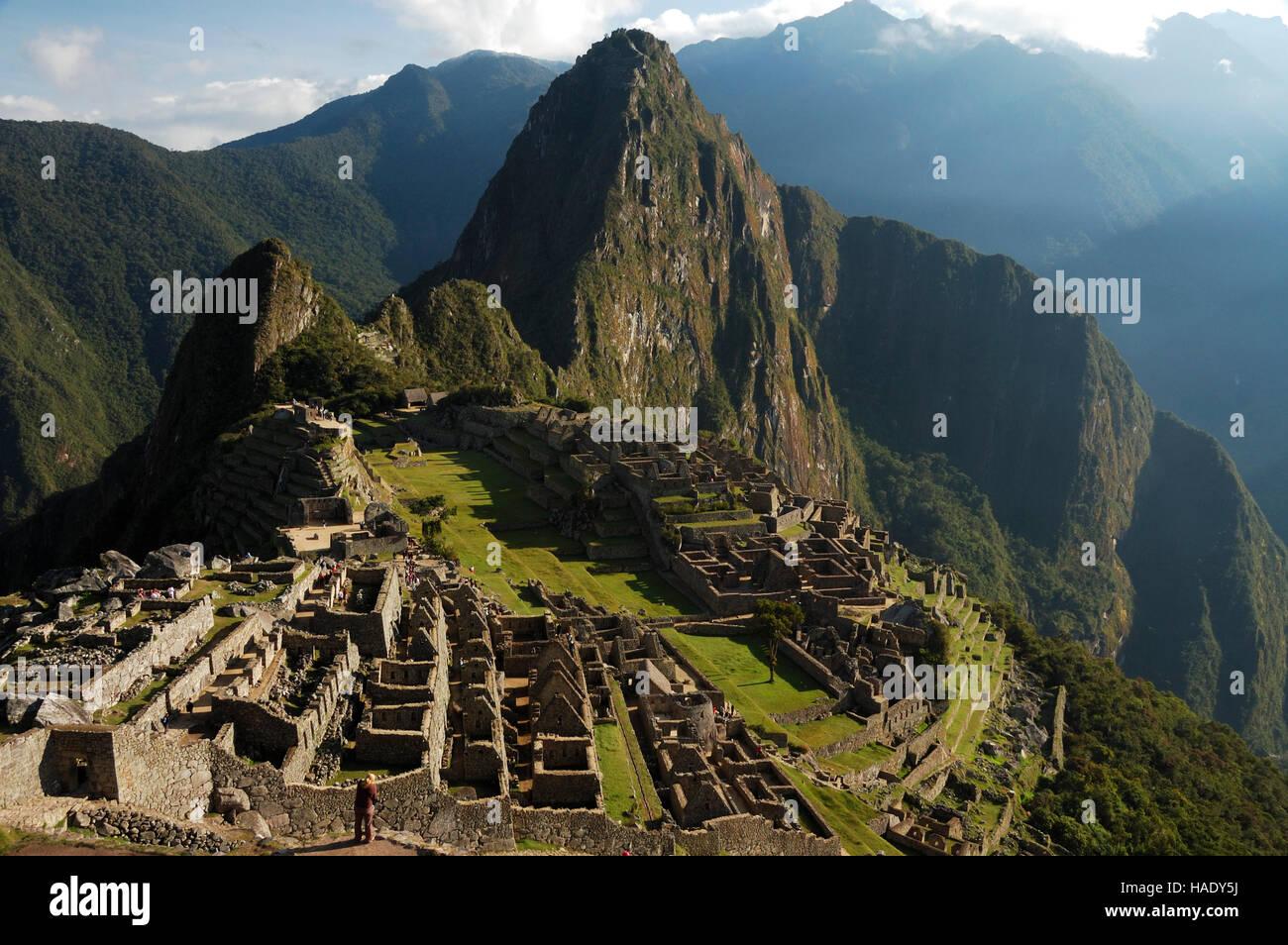 Classic view of Machu Picchu, Peru, South America - Stock Image