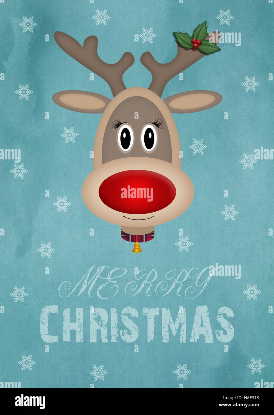 Cute Female Reindeer On Vintage Blue Background With Text Merry Christmas Card Design