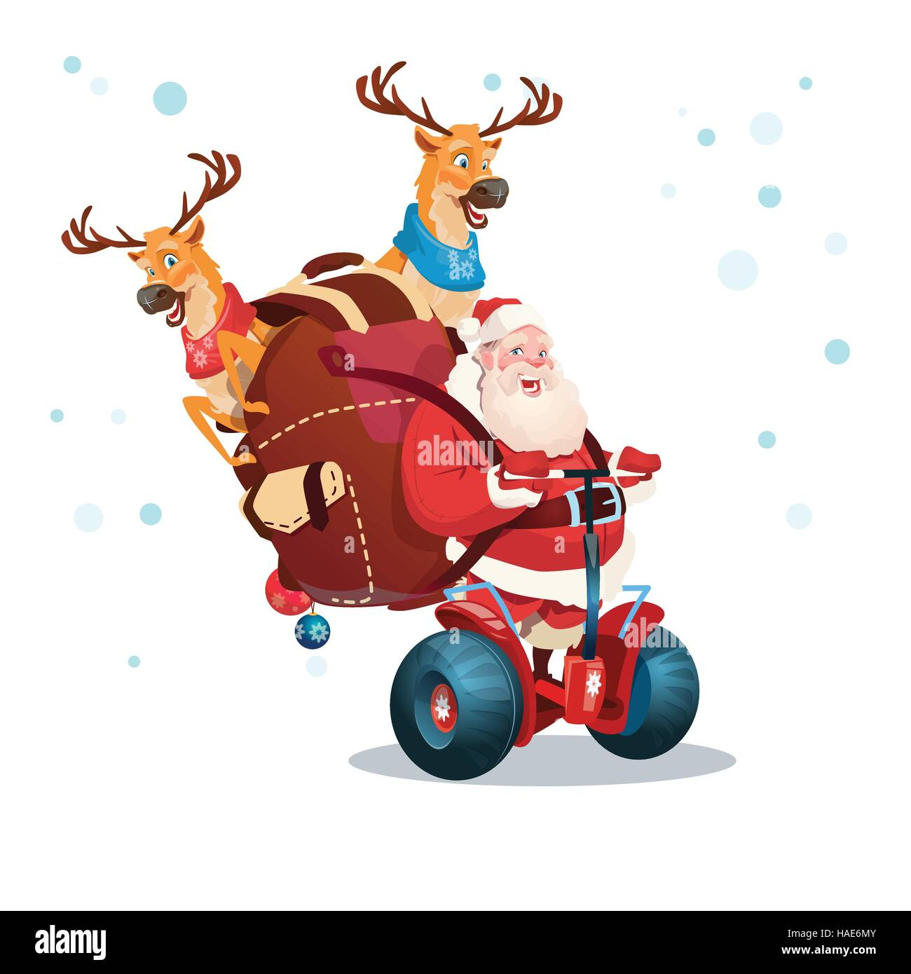 Santa Claus Deer Ride Electric Scooter Christmas Holiday Happy New Year Greeting Card - Stock Image