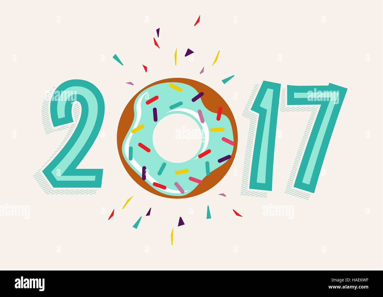 happy new year 2017 fun typography design with sweet donut cake element as number eps10 vector