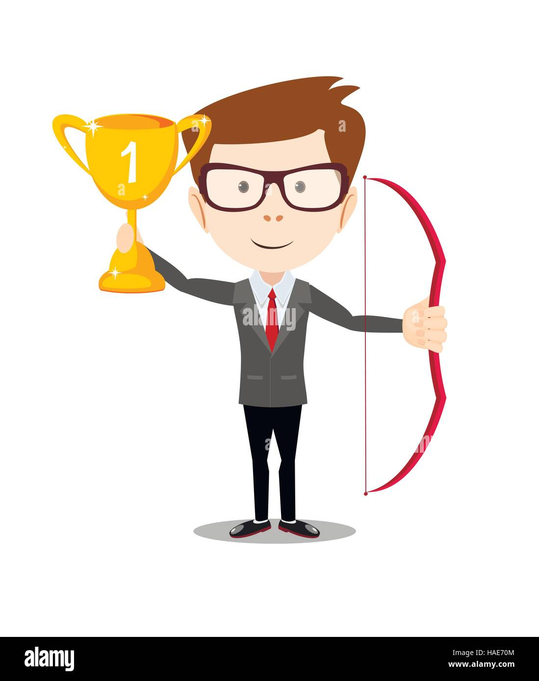 business man proudly standing , holding up winning trophy and bow. - Stock Image