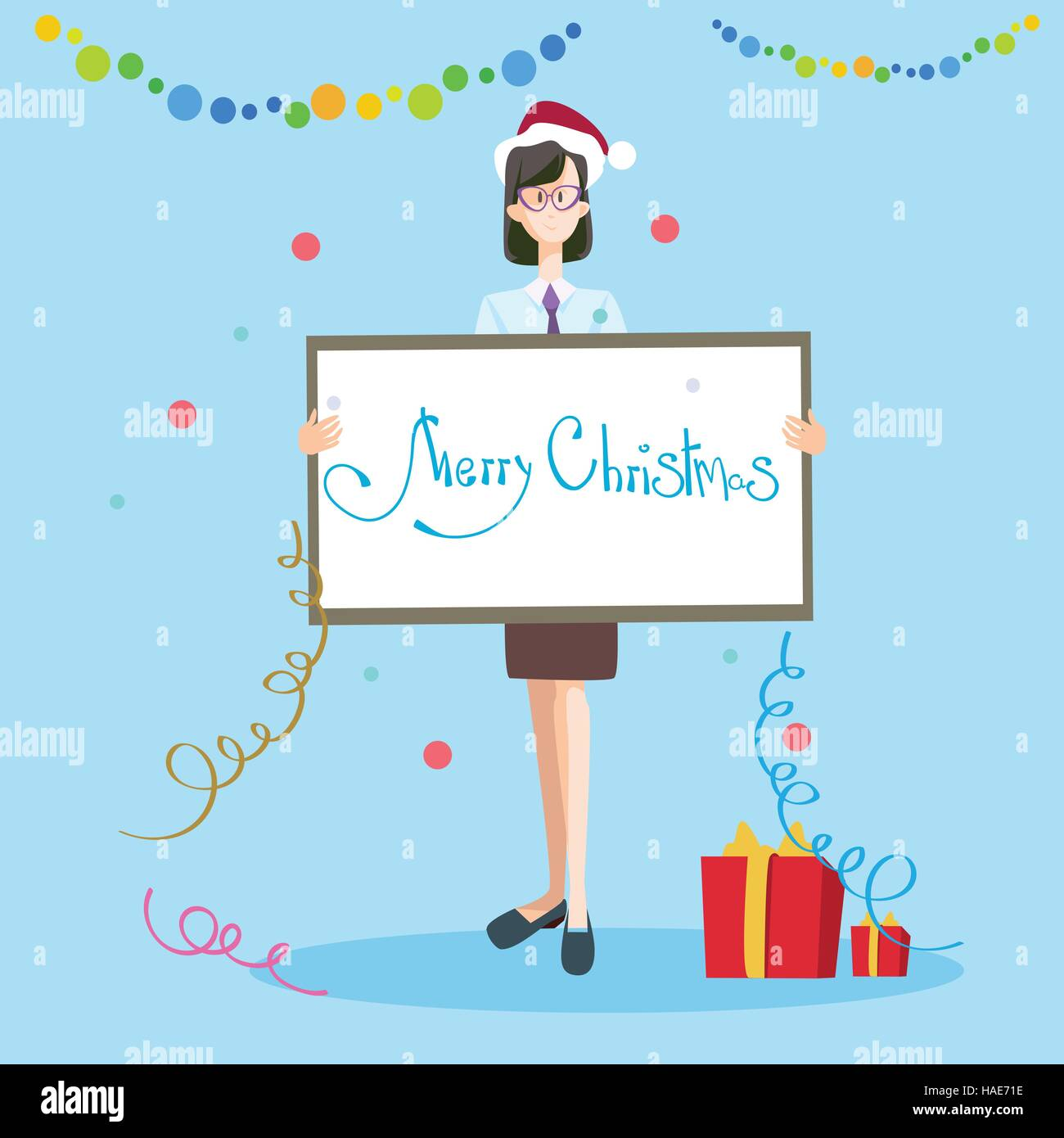 business woman hold banner merry christmas and happy new year celebration stock vector