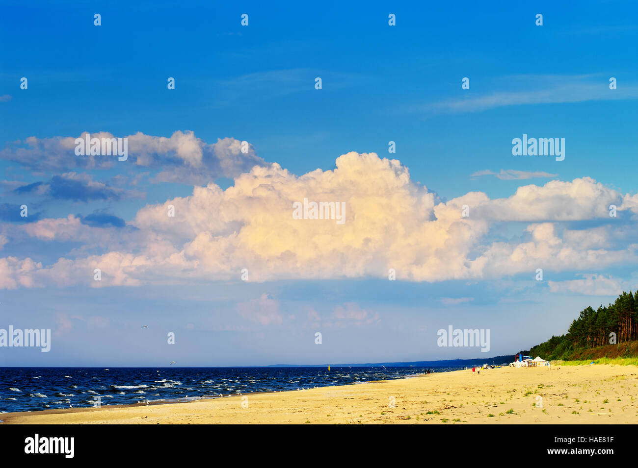 Cloudscape with huge cumulonimbus cloud formation over the beach at Baltic sea. Stegna, Pomerania, northern Poland. - Stock Image
