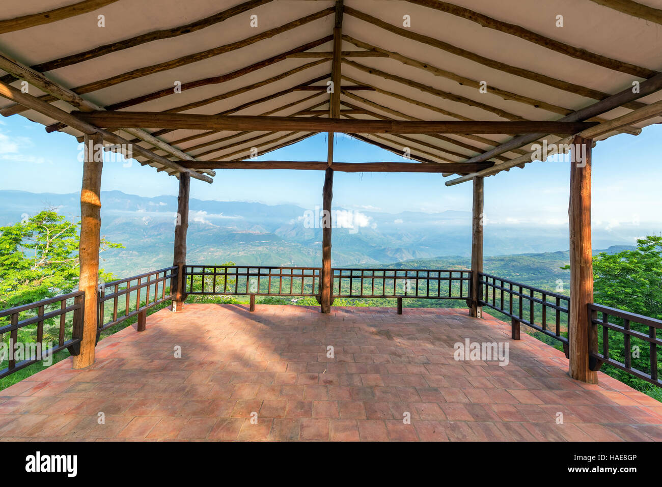 Viewpoint in Barichara, Colombia overlooking the valley below the town - Stock Image