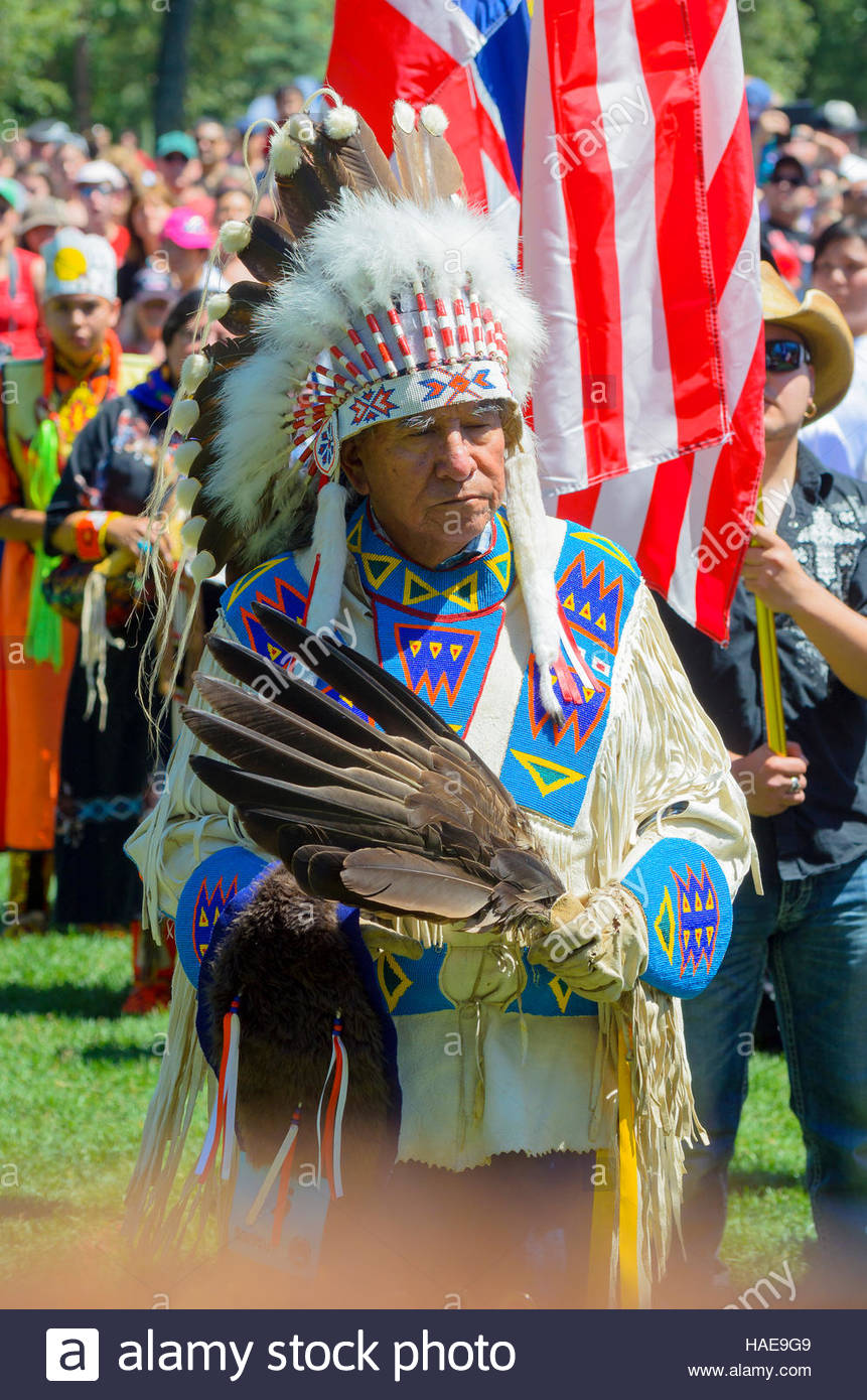 First Nations performance at Canada day Pow Wow, Princes Island, Calgary, Alberta, Canada - Stock Image