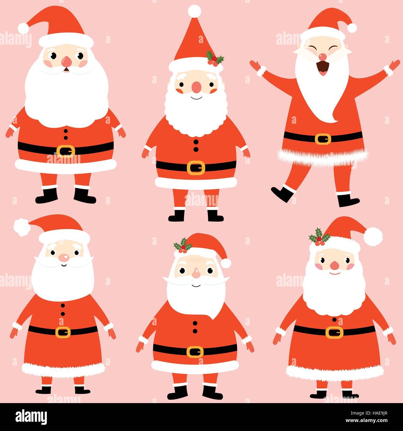 f33b33dc69e Cute Santa Claus characters set. Christmas holiday illustration ...