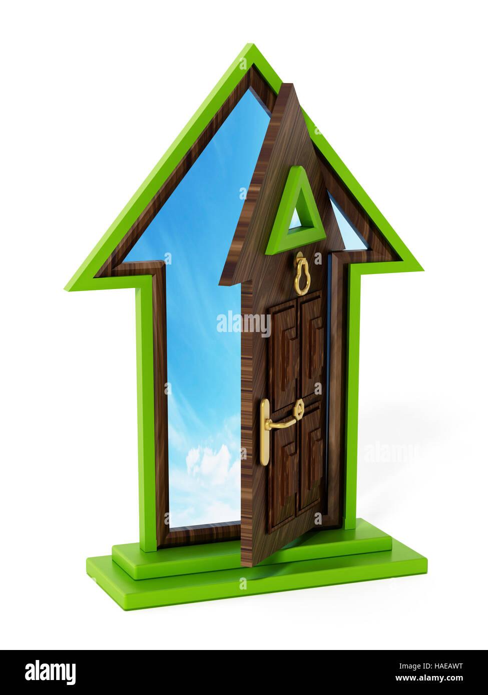 Rising arrow shaped half open door. 3D illustration. - Stock Image