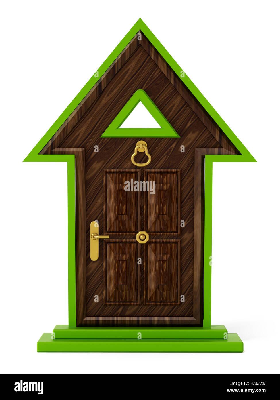 Rising arrow shaped closed door. 3D illustration. - Stock Image