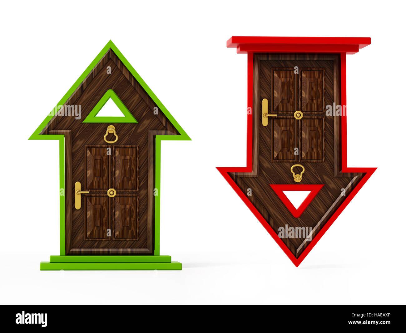 Rising and falling arrow shaped closed doors. 3D illustration. - Stock Image