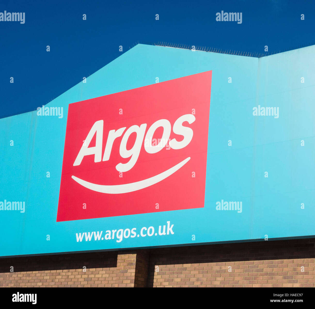 Sign for Argos store in Woking, Surrey, UK - Stock Image