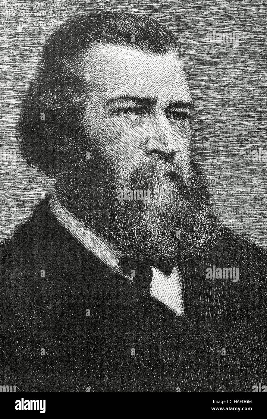 Jean-François Millet (1814-1875). French painter. One of the founders of the Barbizon school. Portrait. Engraving. - Stock Image