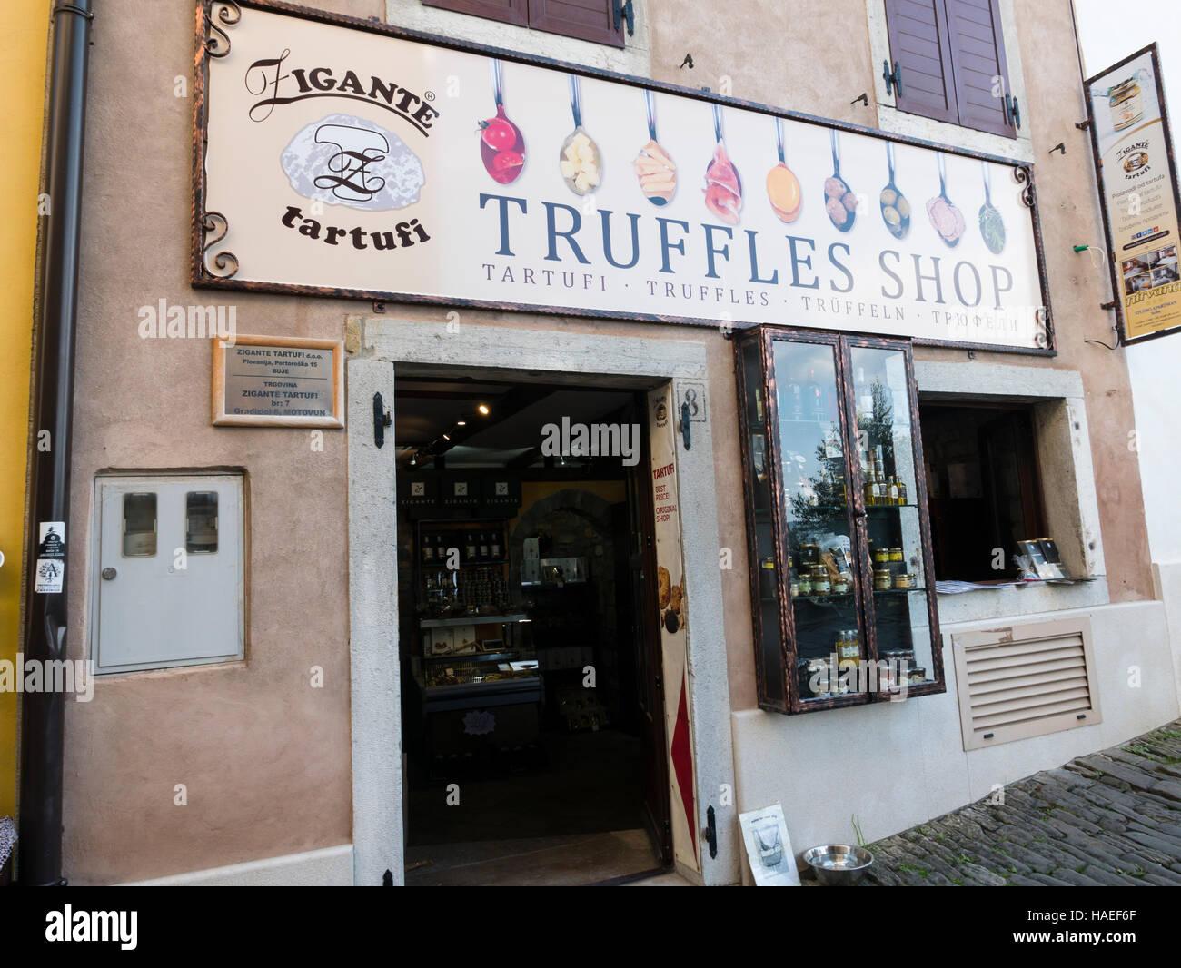 Truffle shop, Motovun, Istria, Republic of Croatia Stock
