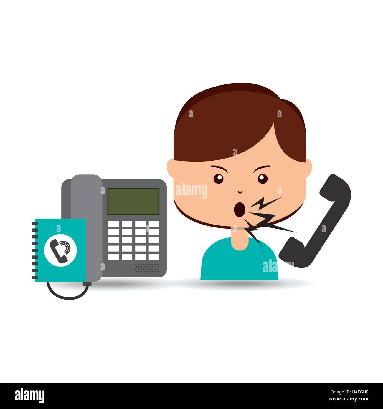 woman customer complaints call center vector illustration eps 10 - Stock Image