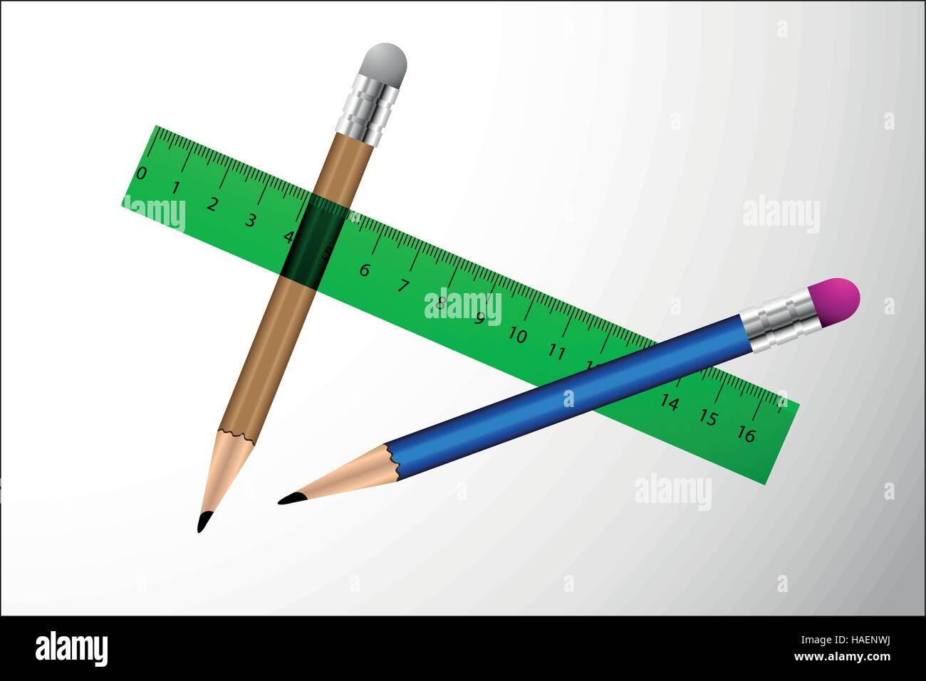 pencil, pencil with eraser, rulers - Stock Vector
